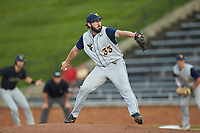 West Virginia Mountaineers starting pitcher BJ Myers (33) in action against the Wake Forest Demon Deacons in Game Six of the Winston-Salem Regional in the 2017 College World Series at David F. Couch Ballpark on June 4, 2017 in Winston-Salem, North Carolina. The Demon Deacons defeated the Mountaineers 12-8. (Brian Westerholt/Four Seam Images)