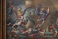 DELACROIX, Eugene, 1798-1863, HÈliodore chassÈ du temple (Expulsion of Heliodorus from the Temple), 1861, fresco, detail, in Eglise Saint-Sulpice (St Sulpitius' Church), c.1646-1745, late Baroque church on the Left Bank, Paris, France. Picture by Manuel Cohen