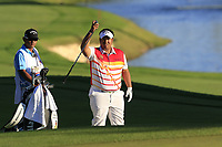 Kiradech Aphibarnrat (THA) at the 18th green during Thursday's Round 1 of the 2018 Turkish Airlines Open hosted by Regnum Carya Golf &amp; Spa Resort, Antalya, Turkey. 1st November 2018.<br /> Picture: Eoin Clarke | Golffile<br /> <br /> <br /> All photos usage must carry mandatory copyright credit (&copy; Golffile | Eoin Clarke)