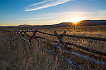 Idaho, Eastern, Island Park. Sunset over Railroad Ranch at Harriman State Park in autumn.