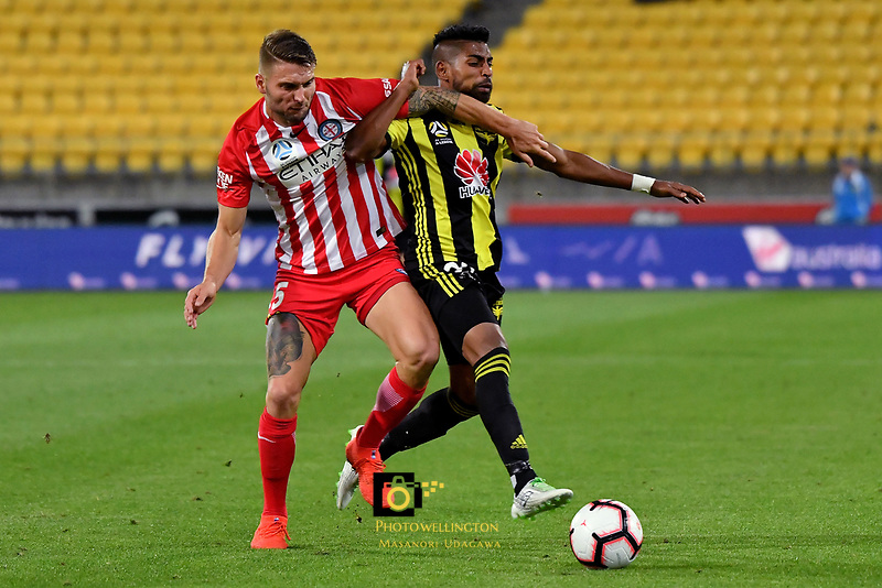 Wellington Phoenix&rsquo; Roy Krishna and Melbourne City&rsquo;s Bart Schenkeveld in action during the A League - Wellington Phoenix v Melbourne City FC at Westpac Stadium, Wellington, New Zealand on Saturday 26 January 2019. <br /> Photo by Masanori Udagawa. <br /> www.photowellington.photoshelter.com