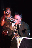 The Prodigy - vocalists Keith Flint and Maxim Reality performing live at the G-Mex Arena Manchester UK - 05 Dec 1997.  Photo by: Tony Woolliscroft / IconicPix
