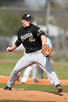 Brad Schreiber #40 of the Purdue Boilermakers during a game vs the Pittsburgh Panthers at the Big East-Big Ten Challenge at Walter Fuller Complex in St. Petersburg, Florida;  February 20, 2011.  Purdue defeated Pitt 5-3.  Photo By Mike Janes/Four Seam Images