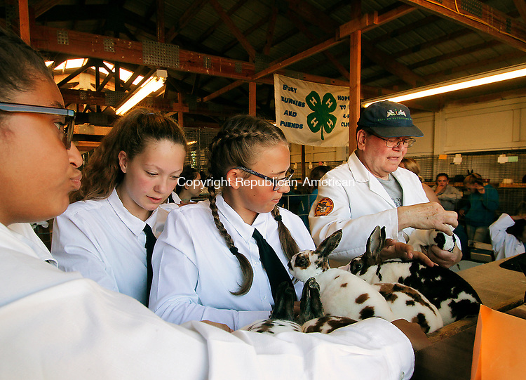 GOSHEN, CT - 30 JULY 2017 - 073017JW01.jpg -- Indra Cabral, Sierra Fitzgerald, and Brianna Lauzon wrangle rabbits to be judged by Judge Paul Jurgelonis Sunday afternoon during the Annual 4-H Fair.  Jonathan Wilcox Republican-American