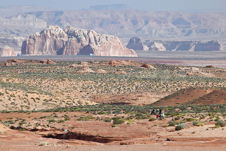 Tourists headed to the entrance of Lower Antelope Canyon in Antelope Valley near Lake Powell and Page Arizona