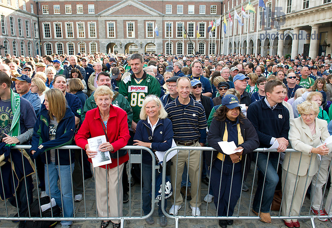 Sept. 1, 2012; A crowd gathers for the Mass of Thanksgiving at Dublin Castle in Ireland. Photo by Barbara Johnston/University of Notre Dame