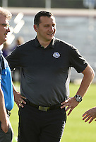 Kansas City, MO - Saturday May 28, 2016: FC Kansas City head coach Vlatko Andonovski. FC Kansas City head coach Vlatko Andonovski before the game as his team defeated Orlando Pride 2-0 during a regular season National Women's Soccer League (NWSL) match at Swope Soccer Village.