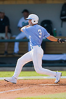 Ben Bunting #3 of the North Carolina Tar Heels follows through on his swing against the Coastal Carolina Chanticleers at Boshamer Stadium May 30, 2010, in Chapel Hill, North Carolina.  Photo by Brian Westerholt / Four Seam Images
