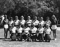 1984 Stanford Field Hockey Team: Front Row (L to R): Suzanne Doi, Lisa Jacobson, Mary Chung, Mary Goodman, Wanda Key, Ami Chitwood.  Back Row (L to R): Head Coach Onnie Killefer, Patsy Huntington, Karen Chamberlain, Susan Fisher, Bonnie Warner, Jennifer Bleakley, Lisa Stewart, Andrea Wolpert, Assistant Coach Sheryl Johnson.