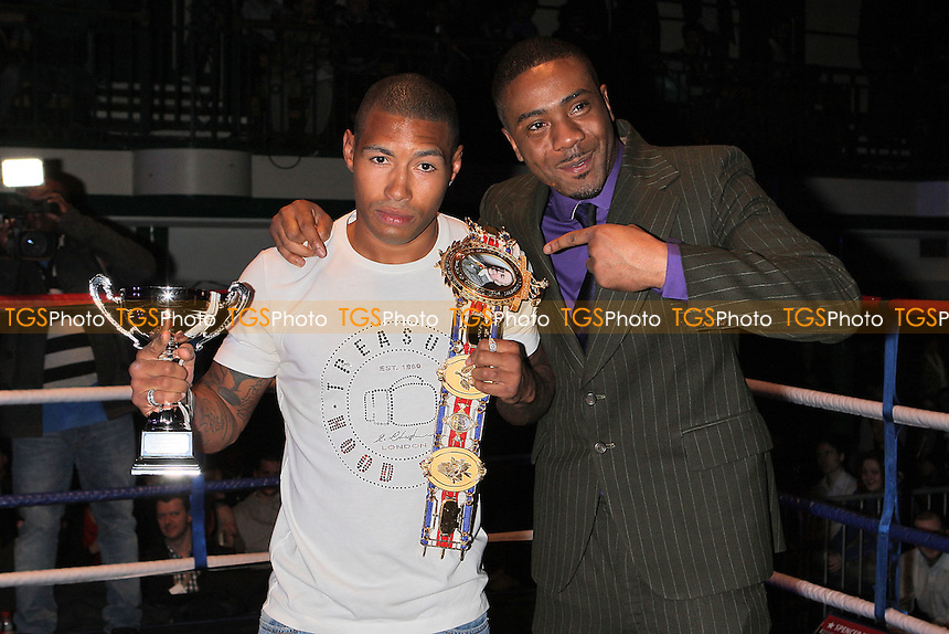 British Light-Welterweight champion Ashley Theophane (L) and Spencer Fearon at York Hall, Bethnal Green during a boxing show promoted by Spencer Fearon / Hard Knocks - 18/03/11 - MANDATORY CREDIT: Gavin Ellis/TGSPHOTO - Self billing applies where appropriate - Tel: 0845 094 6026