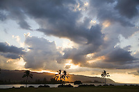 Sunset over Kaena Point, at Kaiaka Beach Park, Haleiwa, Hawaii