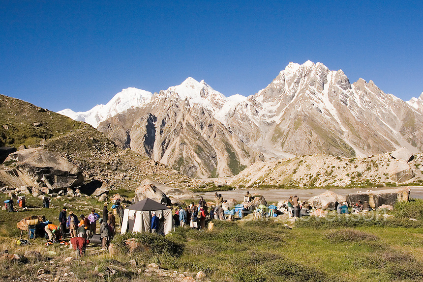 A trekking camp on the Biafo glacier in Pakistan