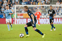 Kansas City, KS - Wednesday August 9, 2017: Jackson Yueill during a Lamar Hunt U.S. Open Cup Semifinal match between Sporting Kansas City and the San Jose Earthquakes at Children's Mercy Park.