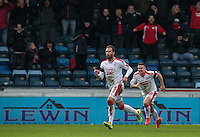 Josh Payne of Crawley Town celebrates his goal during the Sky Bet League 2 match between Wycombe Wanderers and Crawley Town at Adams Park, High Wycombe, England on 25 February 2017. Photo by Andy Rowland / PRiME Media Images.