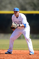 South Dakota State JackRabbits first baseman Aaron Machbitz (33) during a game against the Maine Black Bears at South County Regional Park on March 9, 2014 in Port Charlotte, Florida.  Maine defeated South Dakota 5-4.  (Mike Janes/Four Seam Images)