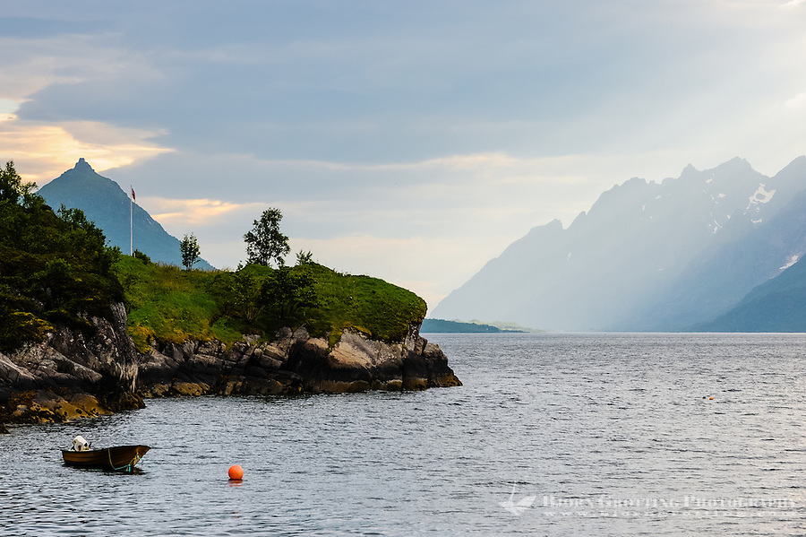 Norway, Lofoten. Raftsundet is a 20km long strait separating Austvågøya and Hinnøya.