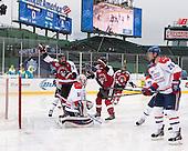 Matt Benning (NU - 5), John Stevens (NU - 18), Braden Pimm (NU - 14) - The Northeastern University Huskies defeated the University of Massachusetts Lowell River Hawks 4-1 (EN) on Saturday, January 11, 2014, at Fenway Park in Boston, Massachusetts.