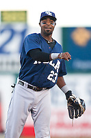 August 7,2010 Gookie Dawkins (23) in action during the MiLB game between the New Orleans Zephyrs and the Colorado Springs Sky Sox at Security Service Field in Colorado Springs Colorado.