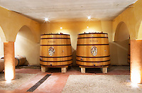 Domaine Mas Bruguiere. Pic St Loup. Languedoc. Wooden fermentation and storage tanks. France. Europe.