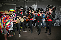 Mariachi band Beato Burrito hired by Grimsby Town fans after Barnet put a ban on inflatables in the ground plays ahead of the Sky Bet League 2 match between Barnet and Grimsby Town at The Hive, London, England on 29 April 2017. Photo by David Horn.