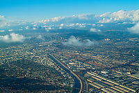 Commerce CA, Aerial View, los Angeles in Background, Clouds, Sky, near Landing, Los Angeles, CA
