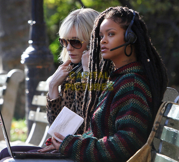 NEW YORK, NY -  NOVEMBER 07: Cate Blanchett and Rihanna on the set of Ocean's 8 in New York's Central Park on November 07, 2016. <br /> CAP/MPI/RW<br /> &copy;RW/MPI/Capital Pictures
