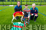 Declan Dowling (Kingdom Greyhound Track) with James Sheehan and Mike Parker at the launching of the Crotta O'Neills GAA Club Night at the Dogs in Kilflynn on Monday.