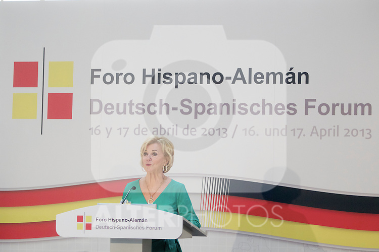 Bertelsmann Foundation board member Liz Mohn during the closing ceremony of the Spanish German forum. {monthname} {day0}, {year4}. (ALTERPHOTOS/Alvaro Hernandez)