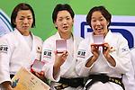 (L to R) Kana Abe, Nae Udaka, Yuki Hashimoto (JPN), .April 21, 2013 - Judo : .Asian Judo Championships 2013, Women's Team Competition Medal Ceremony .at Bangkok Youth Centre, Bangkok, Thailand. .(Photo by Daiju Kitamura/AFLO SPORT) [1045]
