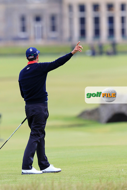 Adam Scott (AUS) sends his ball out of bounds off the 18th tee during Monday's Final Round of the 144th Open Championship, St Andrews Old Course, St Andrews, Fife, Scotland. 20/07/2015.<br /> Picture Eoin Clarke, www.golffile.ie