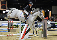 Francesco Franco (Italy), riding Banca Popolare Bari Cassandra at the Gucci Gold Cup International Jumping competition at the 2015 Longines Masters Los Angeles at the L.A. Convention Centre.<br /> October 3, 2015  Los Angeles, CA<br /> Picture: Paul Smith / Featureflash