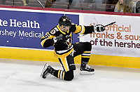 HERSHEY, PA - NOVEMBER 28: Wilkes-Barre/Scranton Penguins center Thomas Di Pauli (16) celebrates with a bow and arrow firing after his first of two first period goals during the Wilkes-Barre/Scranton Penguins at Hershey Bears on November 28, 2018 at the Giant Center in Hershey, PA. (Photo by Randy Litzinger/Icon Sportswire)