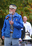 Veteran Charles Sehe prepares to ring the original ship's bell during a ceremony at the U.S.S. Nevada Memorial on the Capitol grounds in Carson City, Nev., on Wednesday, Oct. 14, 2015. , Sehe, who served on the U.S.S. Nevada during World War II, was honored in the ceremony. (Cathleen Allison/Las Vegas Review-Journal)