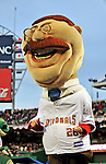 29 March 2008: Mascot Teddy Roosevelt crosses the finish line last in the inter-inning presidential race during an exhibition game between the Baltimore Orioles and the Washington Nationals at Nationals Park, in Washington, DC. The matchup was the first professional baseball game played in the new Nationals Park, prior to the upcoming official opening day inaugural game. The Nationals defeated the Orioles 3-0...Mandatory Photo Credit: Ed Wolfstein Photo