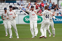 Jamie Porter of Essex celebrates with his team mates after taking the wicket of Tom Abell during Essex CCC vs Somerset CCC, Specsavers County Championship Division 1 Cricket at The Cloudfm County Ground on 25th June 2019