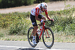 Thomas De Gendt (BEL) Lotto-Soudal in his usual position up the road in the breakaway during Stage 12 of La Vuelta 2019 running 171.4km from Circuito de Navarra to Bilbao, Spain. 5th September 2019.<br /> Picture: Luis Angel Gomez/Photogomezsport | Cyclefile<br /> <br /> All photos usage must carry mandatory copyright credit (© Cyclefile | Luis Angel Gomez/Photogomezsport)