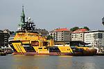 Loke Viking tug supply vessel ship in the harbour, city of Bergen, Norway