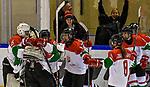 03.01.2020, BLZ Arena, Füssen / Fuessen, GER, IIHF Ice Hockey U18 Women's World Championship DIV I Group A, <br /> Daenemark (DEN) vs Ungarn (HUN), <br /> im Bild Jubel nach Spielende, Fruzsina Szabo (HUN, #25), Zsofia Toth (HUN, #20), Dorottya Gengeliczky (HUN, #14), Petra Szamosfalvi (HUN, #8)<br /> <br /> Foto © nordphoto / Hafner