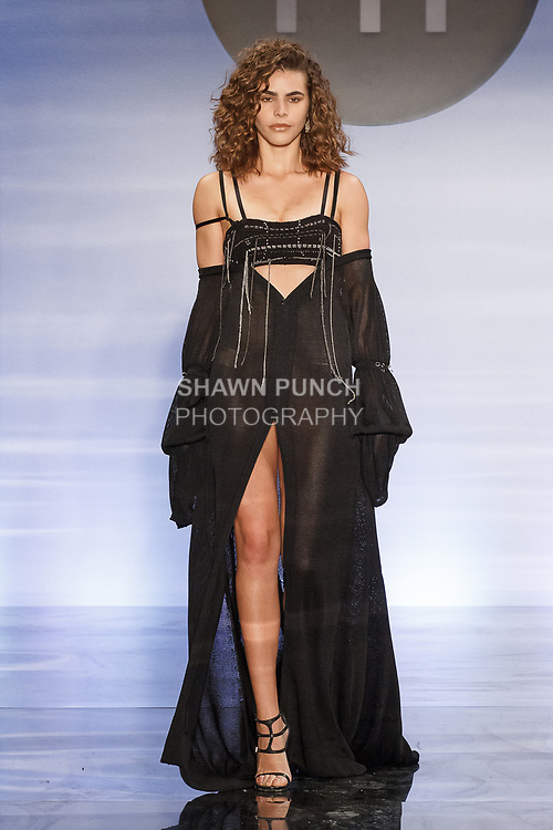 Model walks runway in an outfit by Daija Simpson, during the Future of Fashion 2017 runway show at the Fashion Institute of Technology on May 8, 2017.
