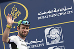 Mark Cavendish (GBR) Team Dimension Data at sign on before the start of Stage 4 The Municipality Stage of the Dubai Tour 2018 the Dubai Tour&rsquo;s 5th edition, running 172km from Skydive Dubai to Hatta Dam, Dubai, United Arab Emirates. 9th February 2018.<br /> Picture: LaPresse/Fabio Ferrari | Cyclefile<br /> <br /> <br /> All photos usage must carry mandatory copyright credit (&copy; Cyclefile | LaPresse/Fabio Ferrari)