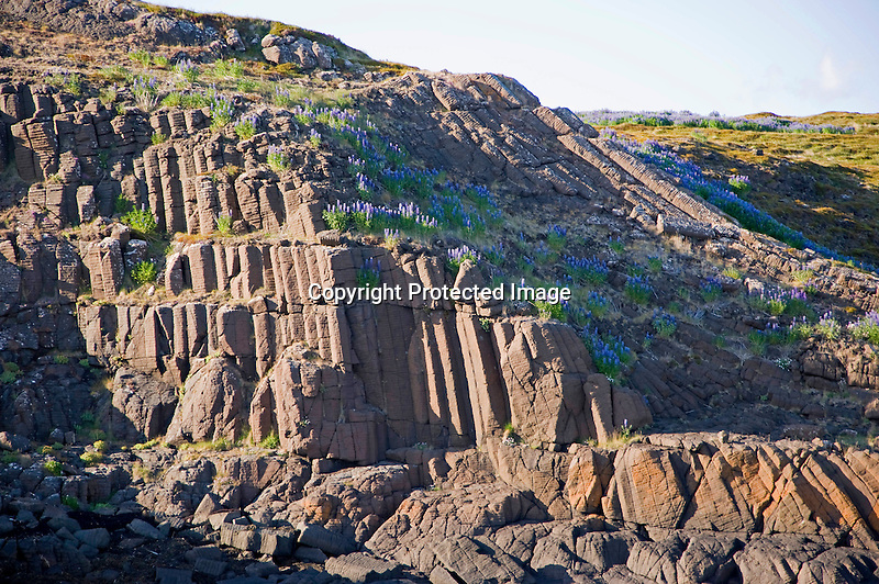Volcanic Rock Formations on Island in Breidafjordur Fjord near Stykkisholmur in Iceland