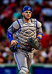 22 June 2019: Toronto Blue Jays catcher Danny Jansen returns to the dugout at the end of the 8th inning against the Boston Red Sox at Fenway :Park in Boston, MA. The Blue Jays rallied to defeat the Red Sox 8-7 in the 2nd game of their 3-game series. Mandatory Credit: Ed Wolfstein Photo *** RAW (NEF) Image File Available ***