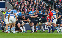 Dylan Hartley carrying the ball in a maul, England v Argentina in an Old Mutual Wealth Series, Autumn International match at Twickenham Stadium, London, England, on 26th November 2016. Full Time score 27-14
