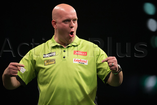 28.04.2016. Barclaycard Arena, Birmingham, England. Betway PDC Premier League Darts. Night 13. Michael van Gerwen celebrates.