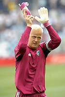 Kansas City goalkeeper Jimmy Nielsen applauds the fans at the end of the match... Sporting Kansas City defeated San Jose Earthquakes 2-1 at LIVESTRONG Sporting Park, Kansas City, Kansas.