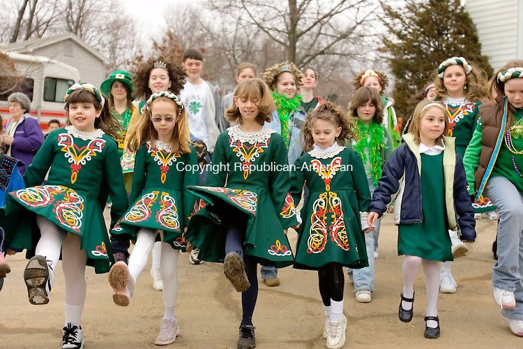 WATERBURY, CT--10 MARCH 2007--031007JS32- Irish step dancers perform during the annual Waterbury St. Patrick's Day Parade on Saturday. The parade is organized by the Ancient Order of Hibernians. <br /> Jim Shannon / Republican-American