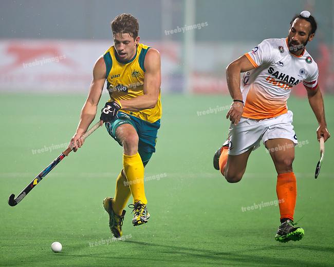 Mens Hockey World league Final Delhi 2014<br /> Day 4, 15-01-2014<br /> Australia v India<br /> Simon Orchard<br /> Photo: Grant Treeby / treebyimages