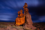 Night at the Three Judges formation at Goblin Valley State Park, near Hanksville, Utah