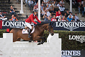 28th September 2017, Real Club de Polo de Barcelona, Barcelona, Spain; Longines FEI Nations Cup, Jumping Final; Lauren HOUGH (USA) riding Ohlala during the first round of the Nations Cup