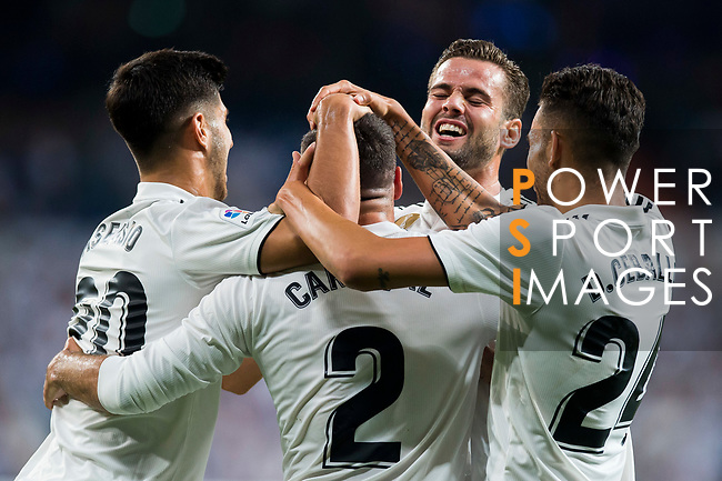Daniel Carvajal Ramos of Real Madrid celebrates with teammates during the La Liga 2018-19 match between Real Madrid and Getafe CF at Estadio Santiago Bernabeu on August 19 2018 in Madrid, Spain. Photo by Diego Souto / Power Sport Images